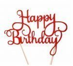 Topper Happy Birthday Paper Red 1012