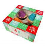 Christmas Cupcake Box 4 Holes v4